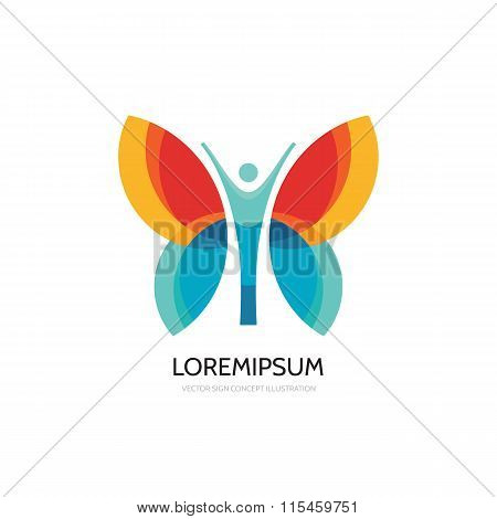 Butterfly vector logo template. Beauty salon - vector logo creative illustration. Human character.