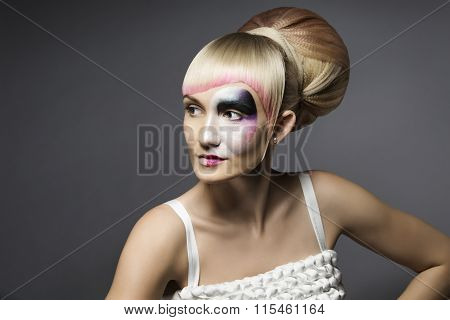 Fashion Woman Makeup Mask, Artistic Model Girl Make Up Face