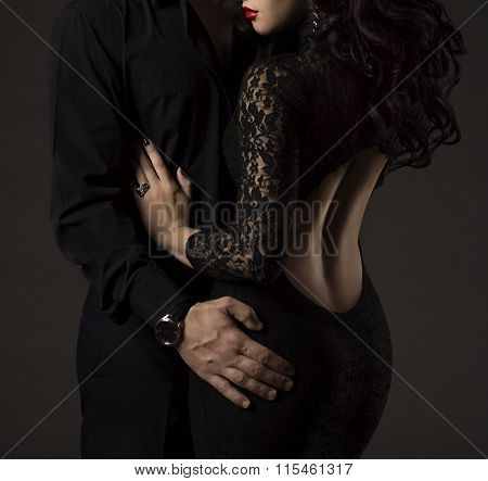 Couple In Black, Woman Man No Faces, Sexy Lady Lace Dress