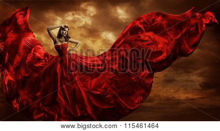 Woman Red Dress Flying Silk Fabric, Fashion Model Dance