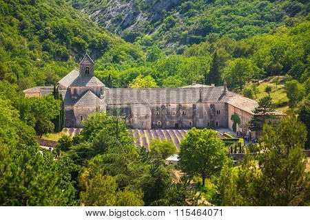 Ancient monastery Notre-Dame de Senanque abbey in Vaucluse, France