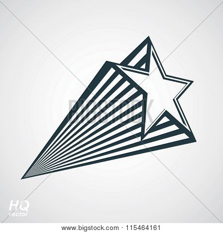 Astronomy conceptual illustration pentagonal comet star, celestial object with decorative comet tail