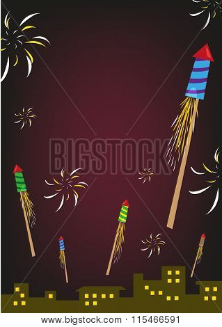Firework Rockets Explode in a Night Sky Over City Buildings. Editable Clip Art.