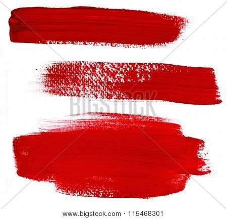 Set Of Abstract Red Paint Brush Strokes On White Background