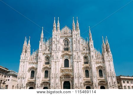 Milan Cathedral or Duomo di Milano is the cathedral church. famous landmark of Milan, Italy poster