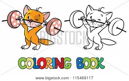 Kitten-athlete lifts the bar. Coloring book