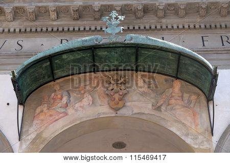 FLORENCE, ITALY - JUNE 05: Fresco on the facade of Basilica della Santissima Annunziata (Basilica of the Annunciation) minor basilica, the mother church of the Servite order, on June 05, 2015