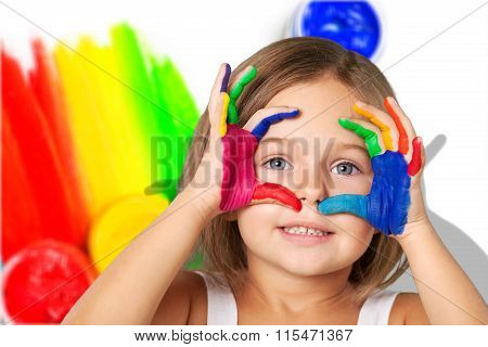 Child with painted hands.