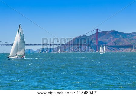 Golden gate bridge and yachts