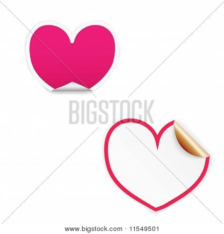 Pink and white heart labels