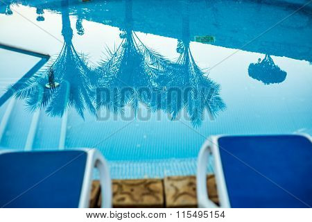 Closeup sunloungers and swimming pool with reflected palms in water
