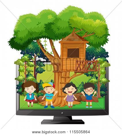 Children playing at the treehouse illustration