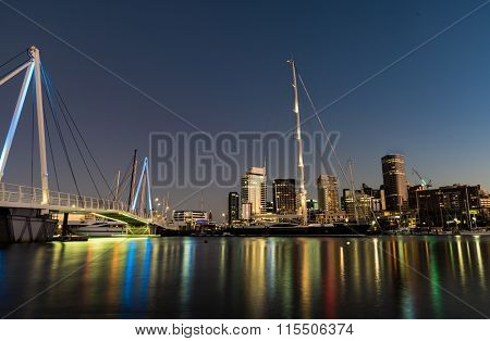 Auckland Skyline reflecting on Westhaven Marina