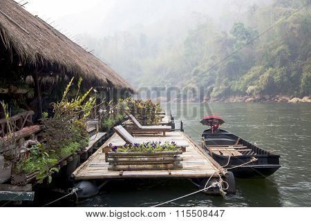 Floating Raft Hotel on the River Kwai