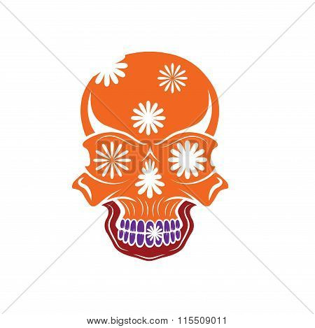 Day of The Dead Skull with flowers dia de los muertos poster