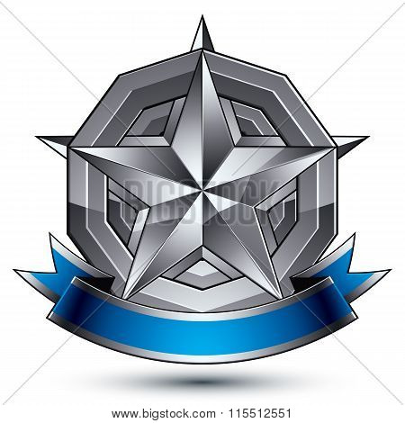 Sophisticated Vector Emblem With Silver Glossy Star And Blue Wavy Ribbon, 3D Decorative Design Eleme