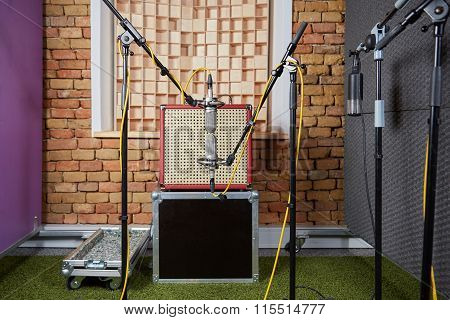 Sound Studio Recording With Amp And Blumlein Microphones