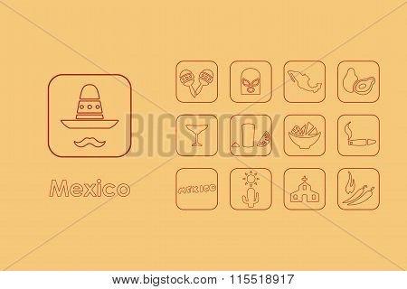 Set of Mexico simple icons