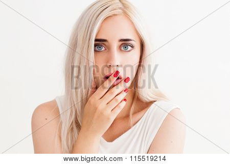 Surprised Girl Covers Her Mouth