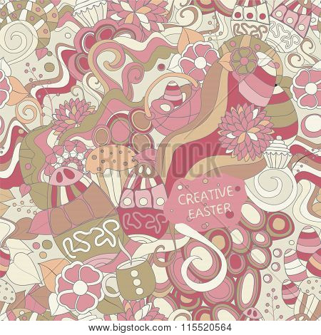 Stock Vector Seamless Cartoon Doodle Easter Pattern. Card, Brochure, Poster Template.