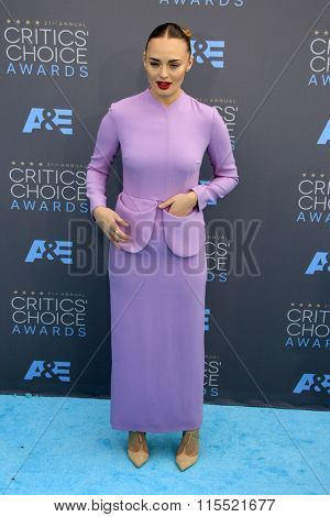 LOS ANGELES - JAN 17:  Laura Haddock at the 21st Annual Critics Choice Awards at the Barker Hanger on January 17, 2016 in Santa Monica, CA