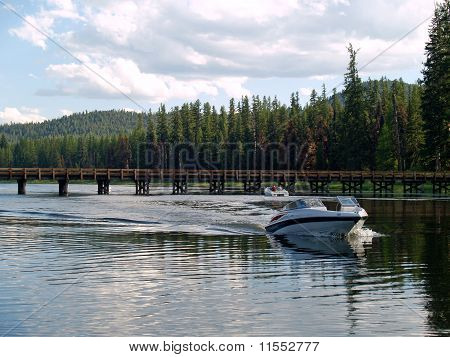 Boat ride at Seeley Lake, Montana