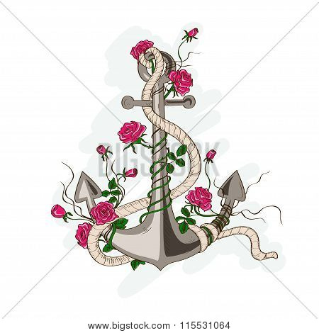 Anchor Entwined With Rose Flowers.