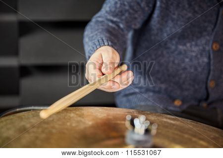 Drumstick And Hand Of Drummer