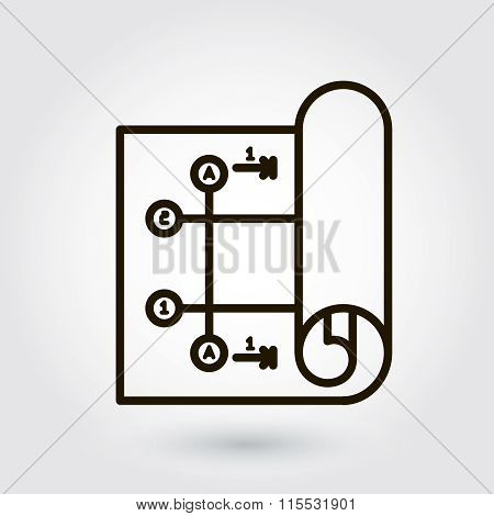 Black flat line vector icon with a picture of a symbol designing