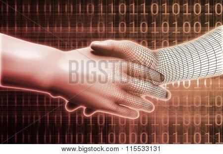 Digital Handshake Between Man and Machine Technology