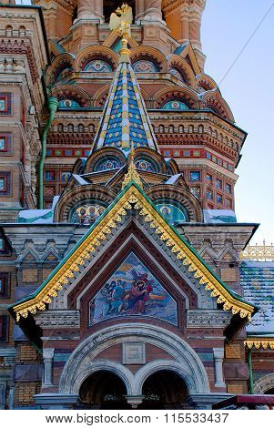 Detail of the Temple of the Resurrection ((Savior-on-Spilled-Blood) in Saint Petersburg.