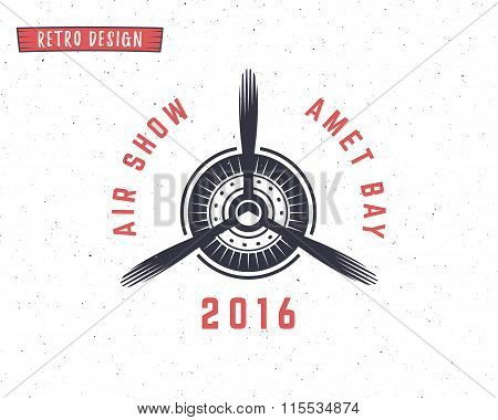 Airplane propeller emblem. Biplane label. Retro Plane badge, design elements. Vintage prints for t s