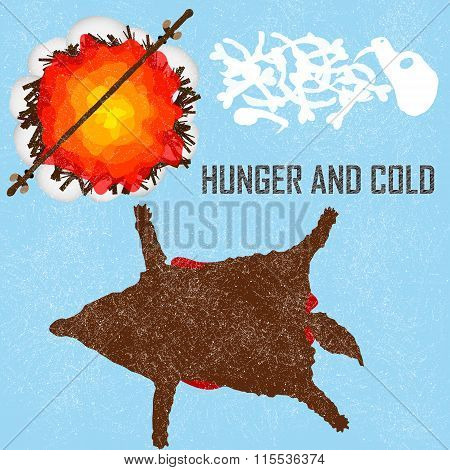 Hunger and Cold - card, background