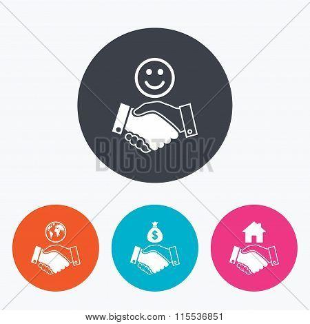 Handshake icons. World, Smile happy face.