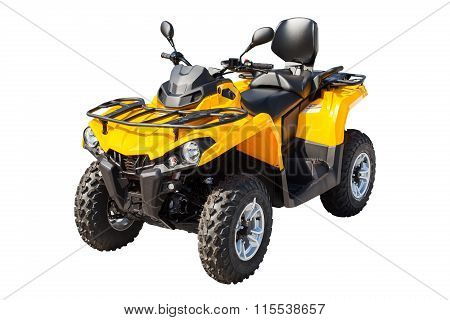 Yellow Atv Quadbike Isolated On White With Clipping Path