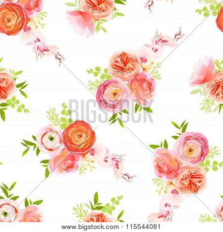 Peachy Roses, Ranunculus And Herbs Bouquets Seamless Vector Print