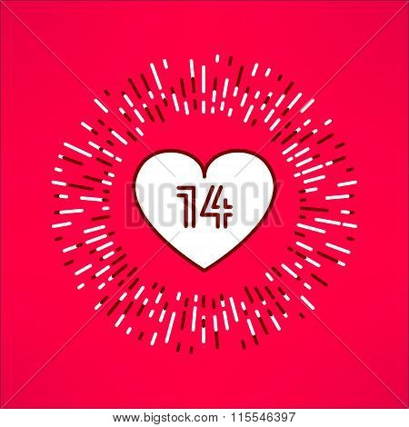 Vector valentines heart with fourteen number inside on tribal outburst background. Love and romance