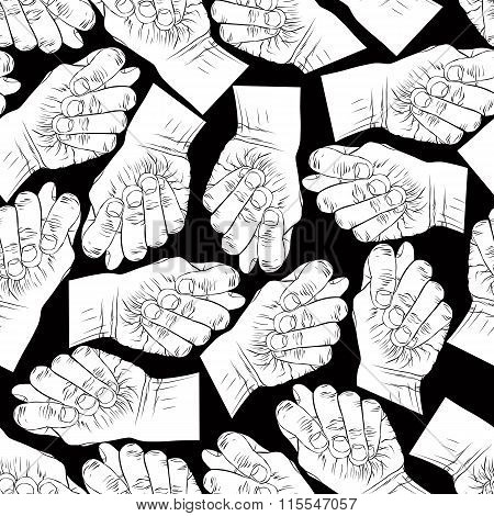 Fig Fico Hands Seamless Pattern, Black And White Vector Background For design