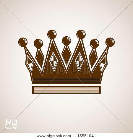 Royal design element regal icon. Vector majestic crown luxury stylized coronet illustration.