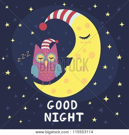 Good night card with sleeping moon and cute owl
