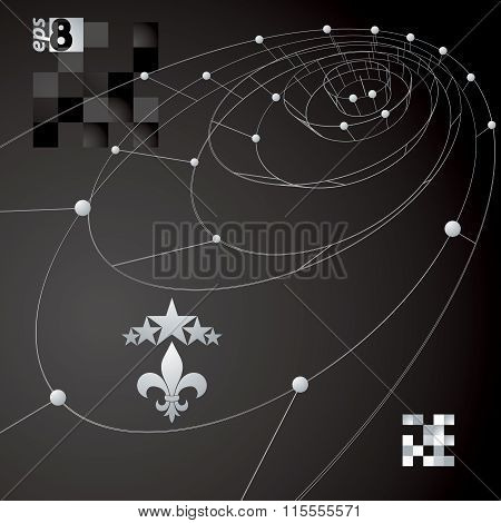 Spatial Vector Dark Digital Eps8 Backdrop, Contrast Dimensional Technology Wireframe Background With