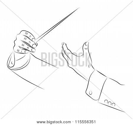 Hands of conductor orchestra vector line illustration poster