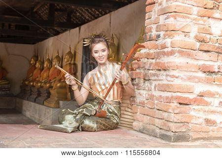 Thai Lady In Vintage Original Thailand Attire