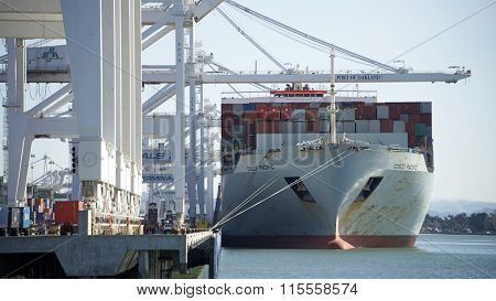 COSCO PACIFIC Cargo Ship loading at the Port of Oakland