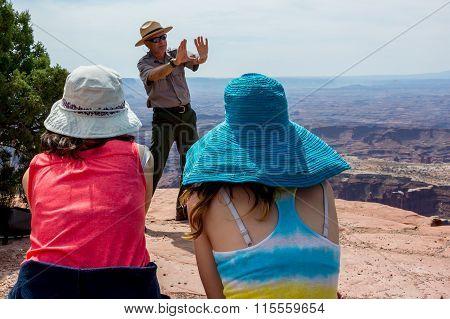 Nps Park Ranger Talking At Island In The Sky