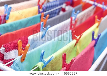 Clothes are hung drying.
