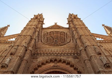 Front portal of Palma Cathedral in Majorca Spain