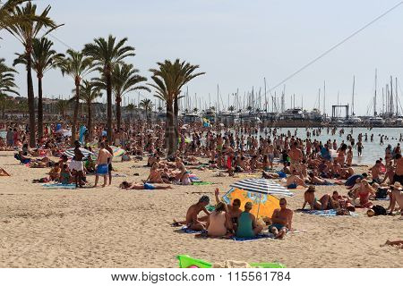 Crowded beach in El Arenal Majorca Spain