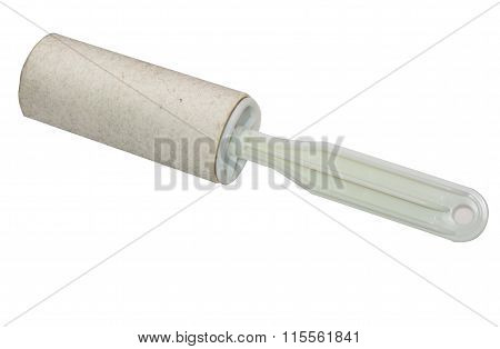 Dirty Lint Roller Close Up Isolated On White Background With Clipping Path