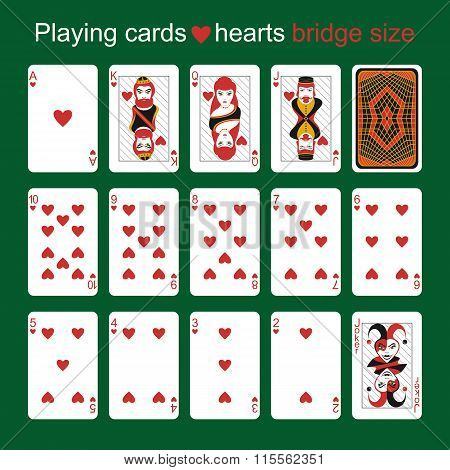 Playing Cards. Hearts. Bridge Size